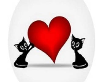 2 cats and heart, 13x18mm cabochon