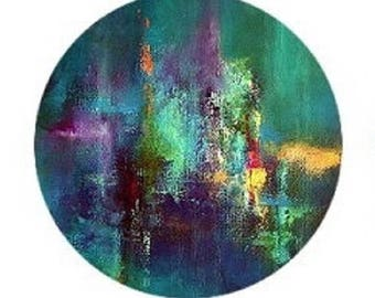 25mmm abstract theme, multicolor paint effect, predominantly blue, green