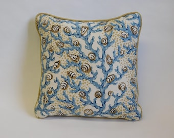 Beige Shells/Blue Coral Pattern on Off-White Background Square Pillow