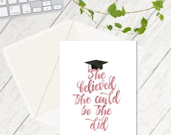She believed she could so she did, University Card, Congratulations Card, Graduation Card, A Level Results Card, Graduation Cards, Congrats