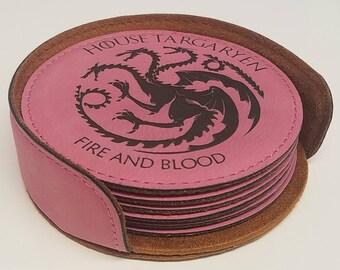 Drink Coaster - Game of Thrones Fans - House Sigils - Targaryen, Lannister, Stark, Greyjoy, Baratheon, Nights Watch
