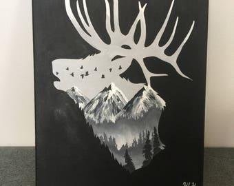 Elk silhouette painting