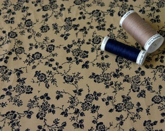 Patchwork fabric in Navy blue flowers on beige background