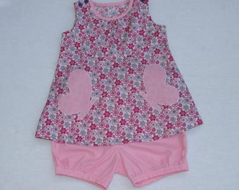 Dress flowers and bloomer set pink 9 months.