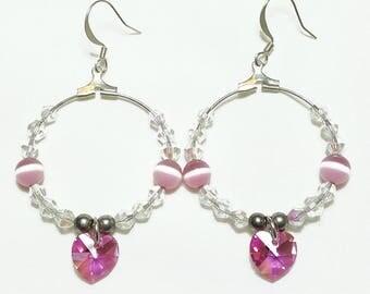Pink Crystal Heart Hoop Beaded Earrings