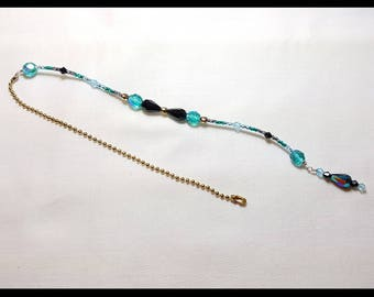 Stunning Teal Black Crystal Beaded Fan Pull Brass Chain