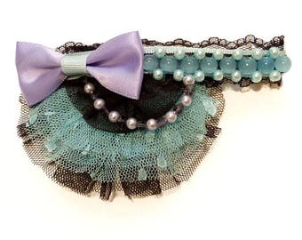 Small clip barrette type clip lolita kawaii asymmetrical blue black purple violet tulle bow