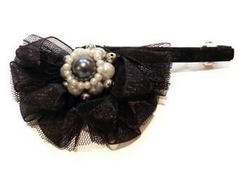Retro Gothic clip type hair clip flower beads white silver black velvet organza