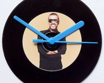 George Michael CD clock with retro black vinyl record look