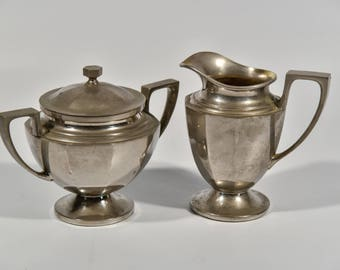 Vintage Cream and Sugar Set, Universal Silver Plate Sugar and Creamer Hollow ware Laurel Design, Vintage Silver Plate, Made in the USA