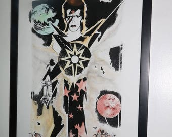 David Bowie 1/1 Hand Embellished Silk Screened Print