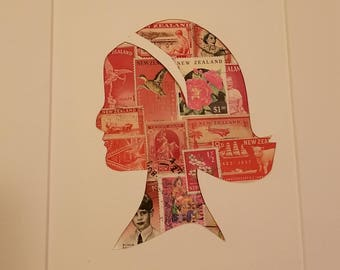 Postage Stamp Collage - Red Head