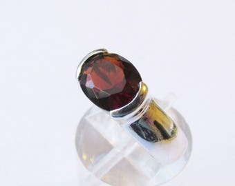 Sterling Oval Garnet Ring Vintage