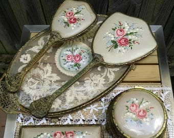 Petit Point Embroidery/English  Vanity Set/Styling Set/Tray, Mirror, Brush, Trinket Jar, Clothes Brush