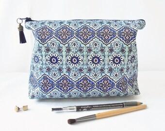 Gifts for her, Wash bag, tile print, mock tile travel bag, cosmetic bag, zip bag, make up bag.