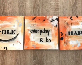 "Modern abstract painting on canvas ""Smile everyday & be happy"""