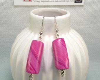 #36 # earrings Pink/Purple polymer