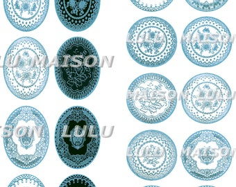 60 images digital printable cabochon - * pale blue lace *-round and oval