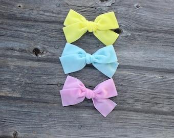 Pastel Bow SET - Oversized - Large - hand tied - Schoolgirl - velvet bow- baby - alligator hair clip - nylon headband -ADDILYN STYLE