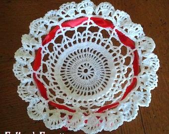 Wedding, baptism, communion: white crochet cotton basket