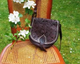 Vintage carved and studded bag