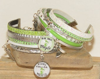 "set of 2 bracelets ""mojito"" leather glitter leather, suede, color choice in the game of mojito bracelet"