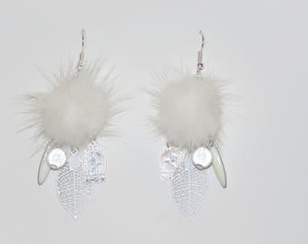 "Earrings, white fur Pompom, cage print with birds, leaves, sequin ""earrings Poumpoumpidou"" Pimprenellecreations"