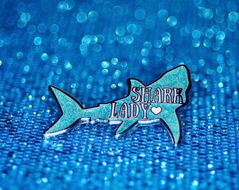 Shark Lady Glitter Enamel Pin, Sharks, Cute
