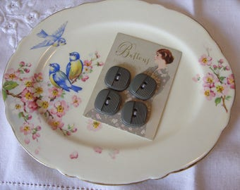 Grey Vintage Buttons x 4
