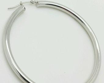 14k White Gold High Polish Tube Hoop Earrings 3x50mm