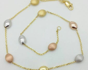 """14k White Yellow Rose Gold Tri Color Pebble Cable Chain Anklet 10"""""""