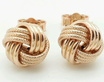 14k Italian Rose Gold Love Knot Stud Earrings Italy 9mm