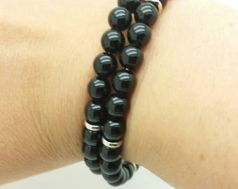 Black Onyx Amethyst Rose Quartz Tiger Eye Garnet Red Agate Green Yellow Jade Amazonite Natural Stone Beaded Bracelet Cuff Bangle 6mm