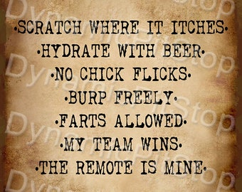 30x40cm Man Cave Rules Funny Rustic Tin Sign