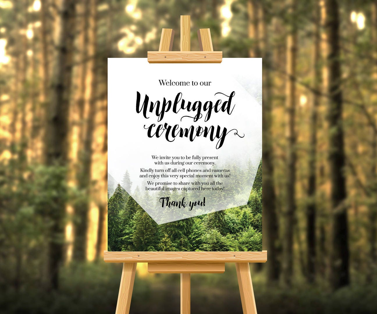 unplugged wedding sign unplugged ceremony forest wedding forest theme no phones ceremony