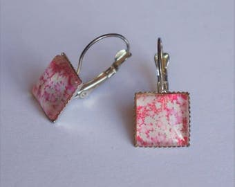 Earrings square earrings with white roses floral Japanese pattern