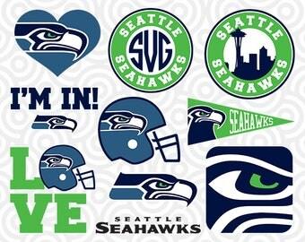 SEATTLE SEAHAWKS SVG Set, Seattle Seahawks Digital Download Files, Football Logos, Die Cut Files in dxf, png, jpg, eps, pdf, S-15