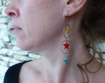 "Long earrings bronze and enamel Star ""Cepheus"""