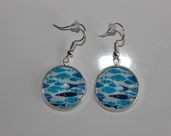 cabochon 20 mm pattern blue fish hook earrings