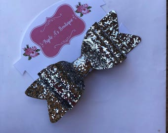 Silver clip bow, sparkly bow!