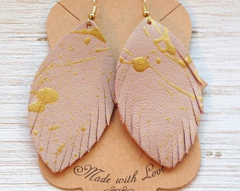 Blush and Gold Leather Feathers, Leather Earrings, Feather Earrings, Painted Earrings, Statement Earrings, Boho
