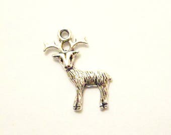 Christmas Reindeer deer charm x1cm silver-plated 24 mm x 19 mm
