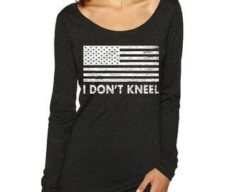 I DON'T KNEEL Triblend Long Sleeve Scoop Neck