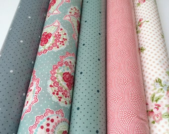 Set of 5 coupons oilcloth cotton has polka dots and flowers - 25 X 25