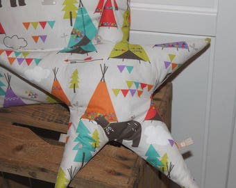 Teepee patterns orange child star cushion