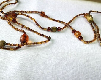 Brown boho long beaded necklace Vintage necklace Old necklace Choker necklace Long necklace