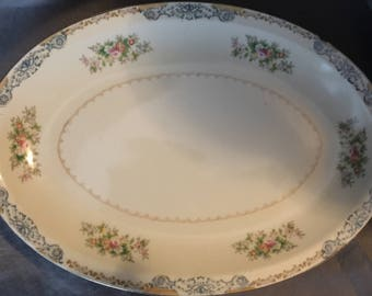 "13"" Oval Serving Platter by Crown Ivory China"
