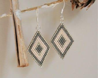 Diamond Pearl Earrings glass Miyuki, silver tone grey and flesh