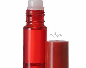 12 Red Glass Roll On Bottles - 30 ML