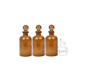 3 Bottles 3.4 oz Amber GLASS APOTHECARY Old World Style Bottle with Glass Ball Top Closure For Essential Oils Perfume Potions Alchemy Amulet